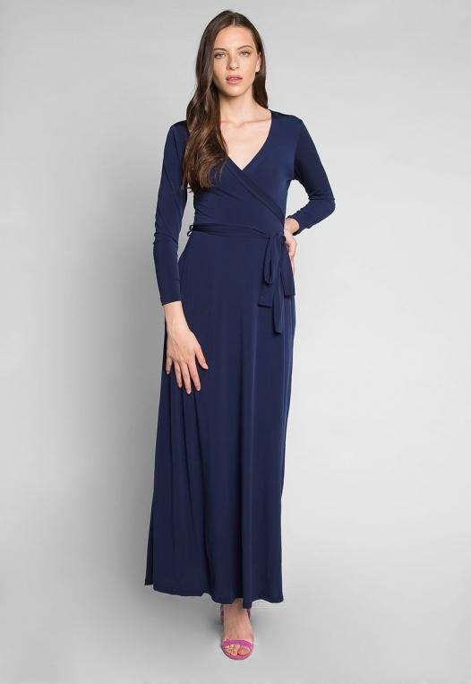 Katherine Wrap Maxi Dress in Navy alternate img #4