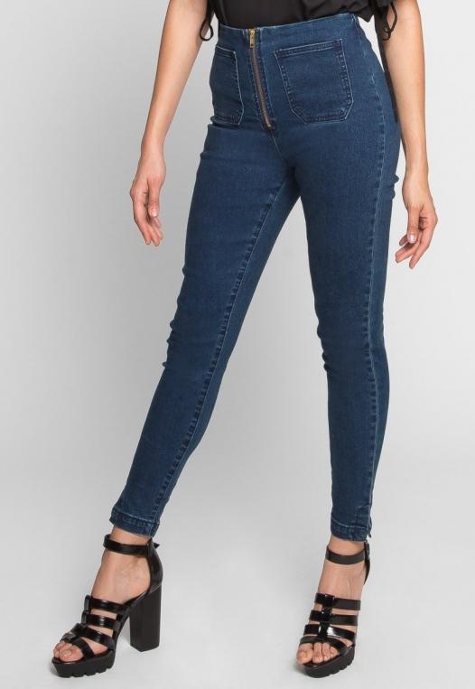 High Waist Zipper Front Skinny Jeans alternate img #3