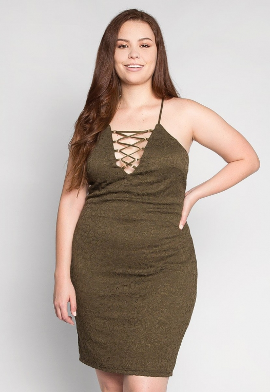 Plus Size Be The One Bodycon Dress in Olive alternate img #1