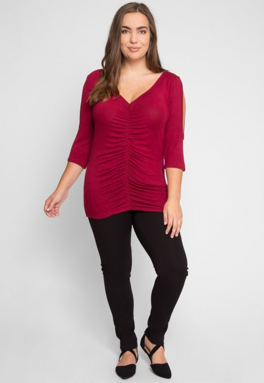 Plus Size Cinnamon Ruched Knit Top alternate img #4