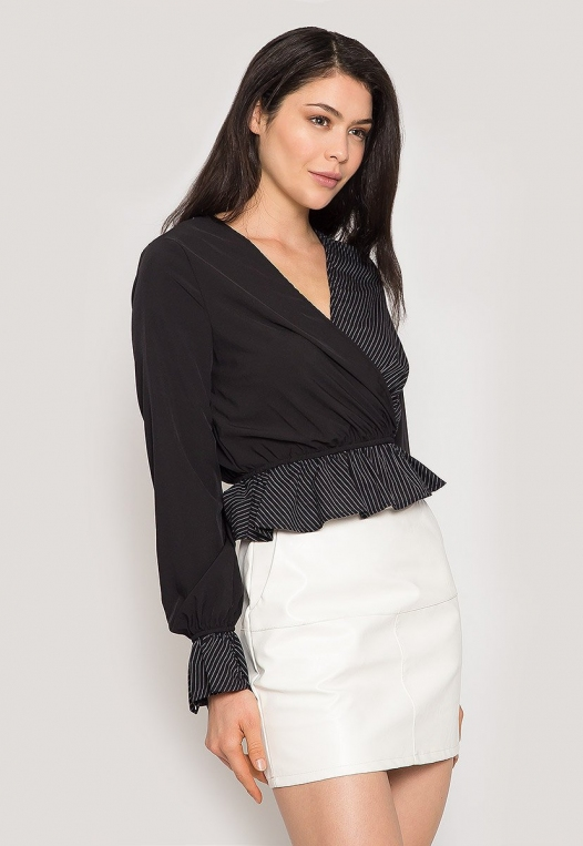 Night Out Surplice Blouse in Black alternate img #3