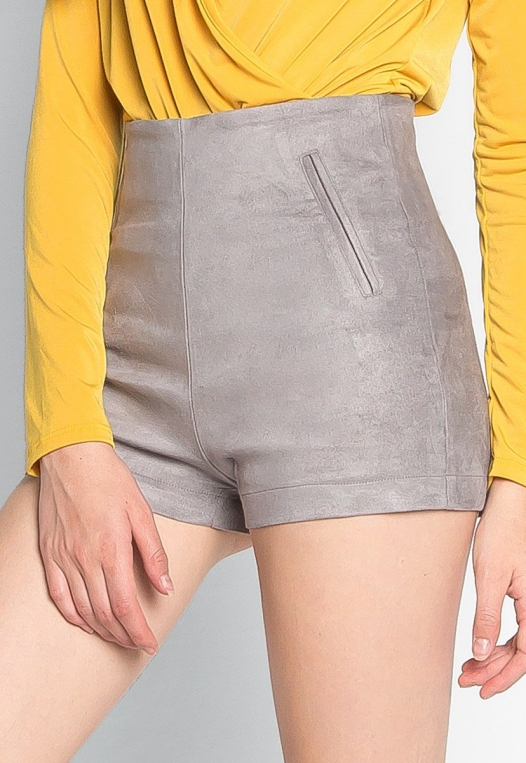 Here To Suede Shorts in Gray alternate img #3