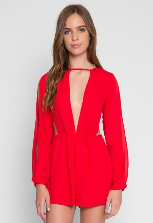 Long Sleeve Cut Out Romper in Red alternate img #2