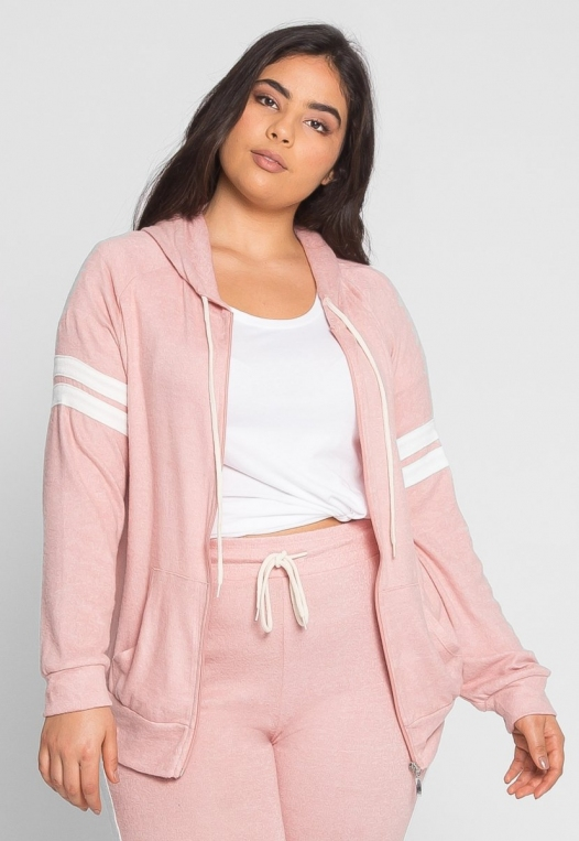 Plus Size Touchdown Zip Up Hoodie in Pink alternate img #2