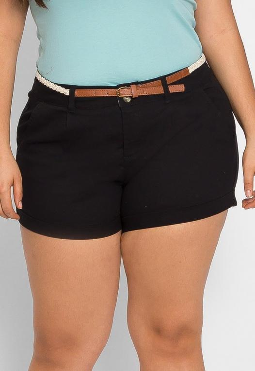 Plus Size Linen Braided Belt Shorts alternate img #3