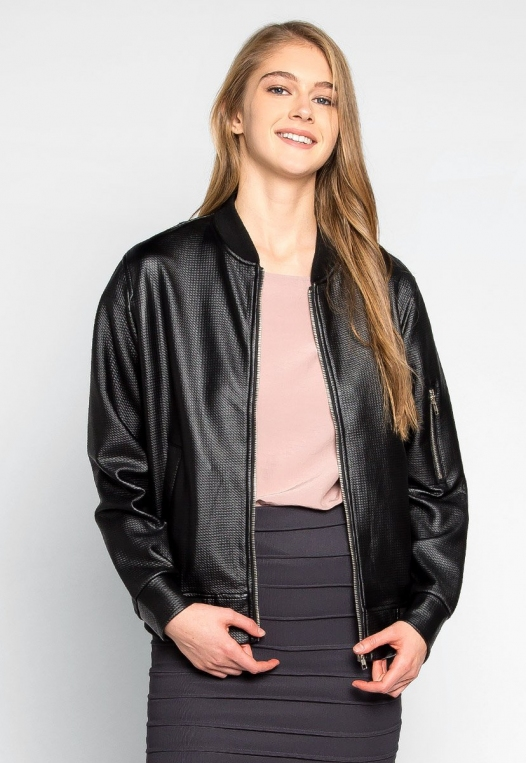 Power Play Faux Leather Bomber Jacket in Black alternate img #5