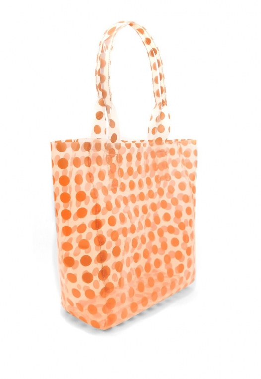 Printed Transparent Tote in Coral alternate img #5