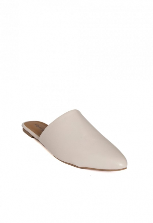 Faux Leather Mule Flats in Gray alternate img #3