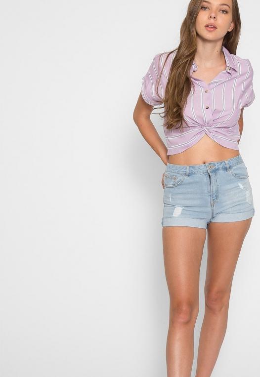 Mighty Real Stripe Crop Shirt in Lavender alternate img #5