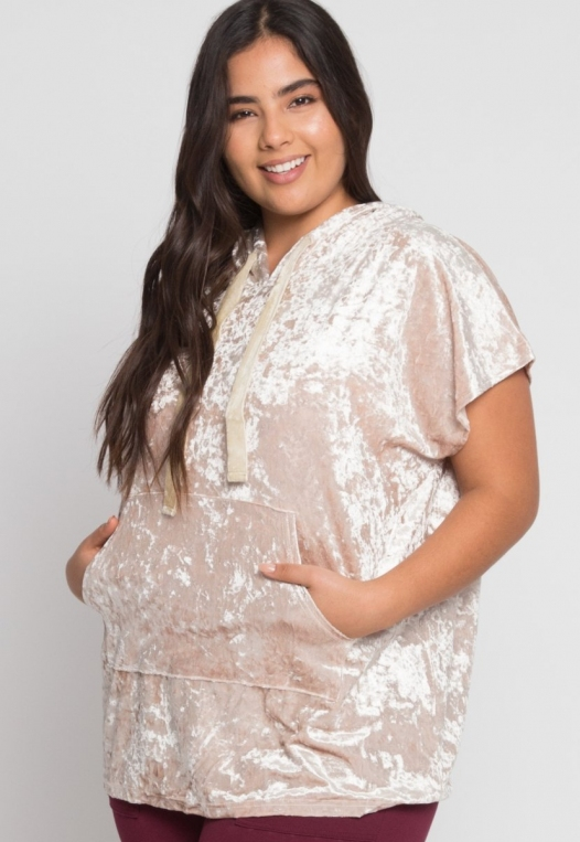 Plus Size Crushed Velvet Hoodie in Beige alternate img #1