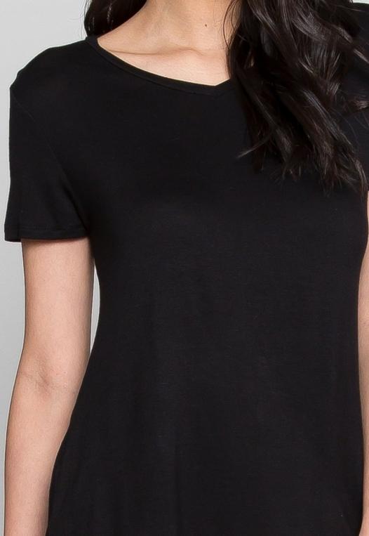 Easy Days V-Neck Plain T-Shirt in Black alternate img #6