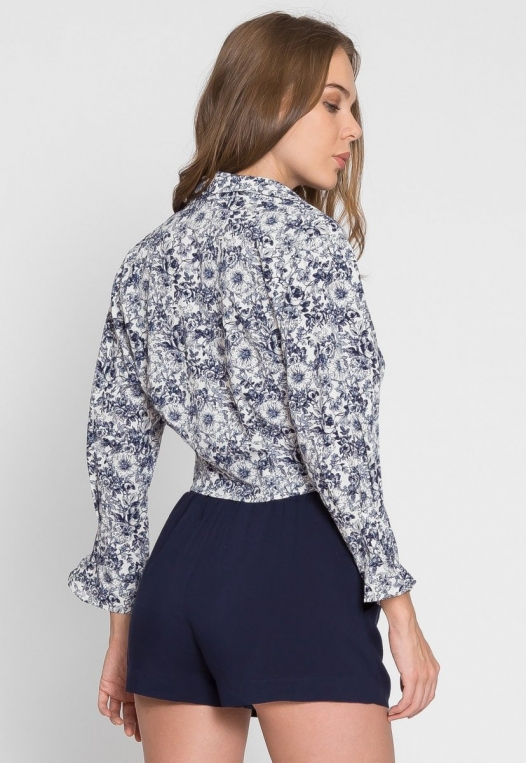 Outcast Floral Crop Button Up Shirt in Navy alternate img #4