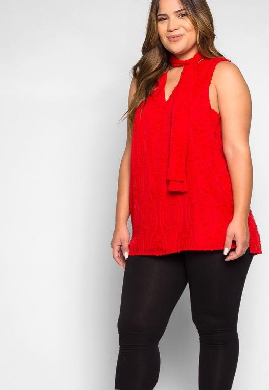 Plus Size Bizarre Love Textured Tie Neck Blouse alternate img #5