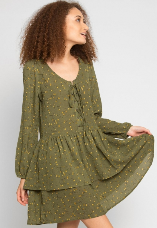 Pine Tiered Floral Dress in Olive alternate img #1