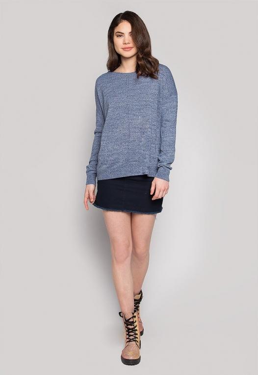 Marily Step Hem Oversized Sweater in Blue alternate img #4