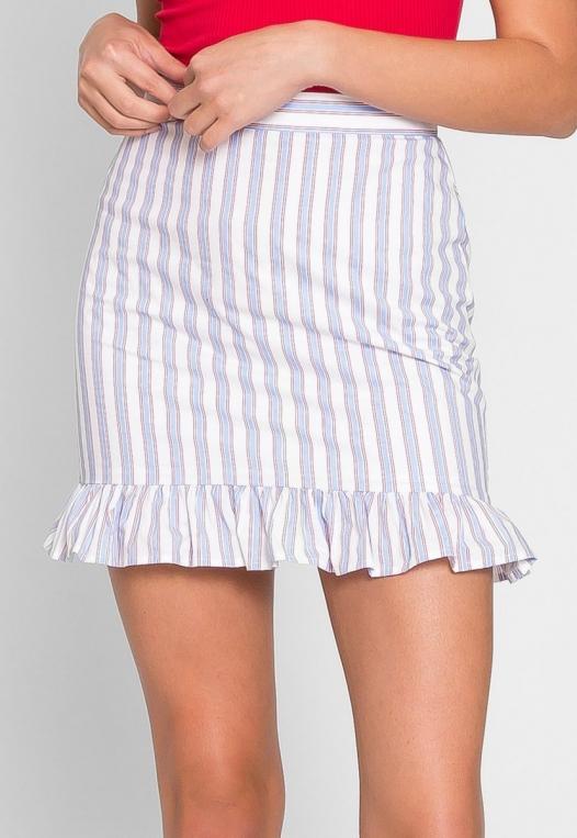 Powder Vertical Stripe Skirt alternate img #4