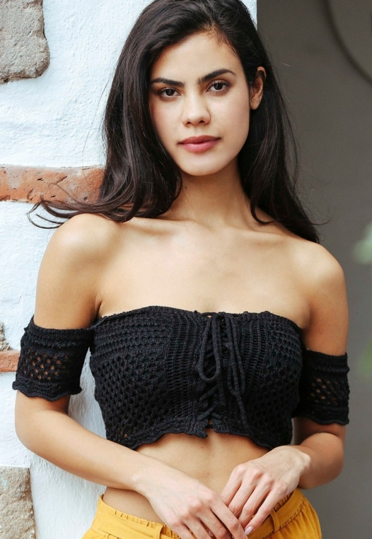 Puerto Crochet Off Shoulder Crop Top in Black alternate img #1