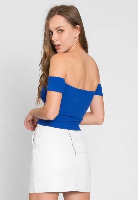 One More Time Off Shoulder Top in Blue alternate img #2