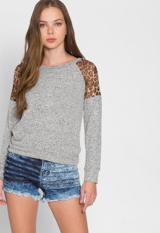 Mystery Leopard Insert Sweater alternate img #6