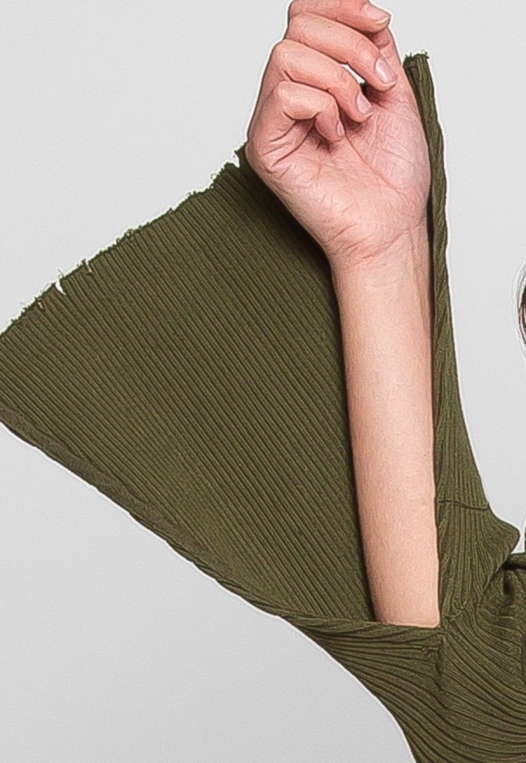 Faux Underwire Long Sleeve Top in Olive alternate img #6
