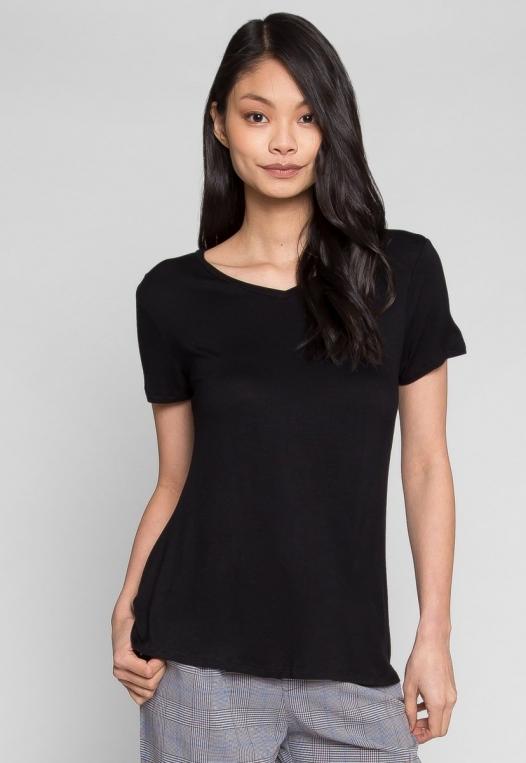 Easy Days V-Neck Plain T-Shirt in Black alternate img #1
