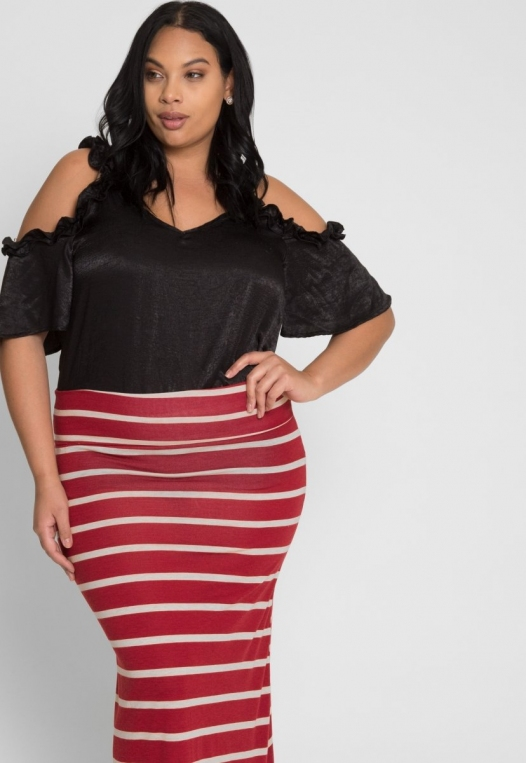 Plus Size Magical Night Stripe Maxi Skirt alternate img #5