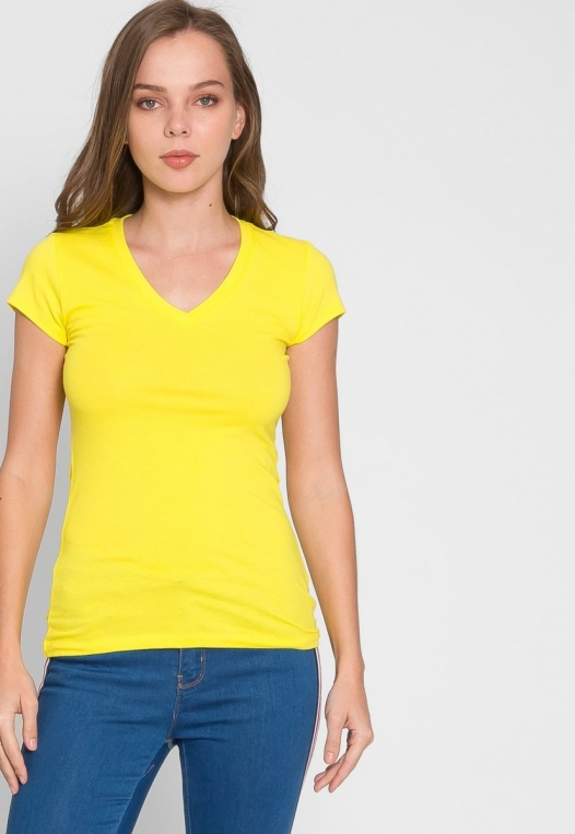 Chill V-Neck Basic Tee in Yellow alternate img #5