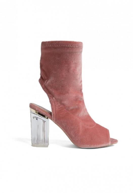Leandra Velvet Cut Out Sock Heels in Blush alternate img #1