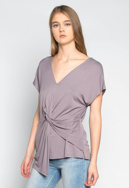 Float on Twisted Front Blouse in Gray alternate img #3