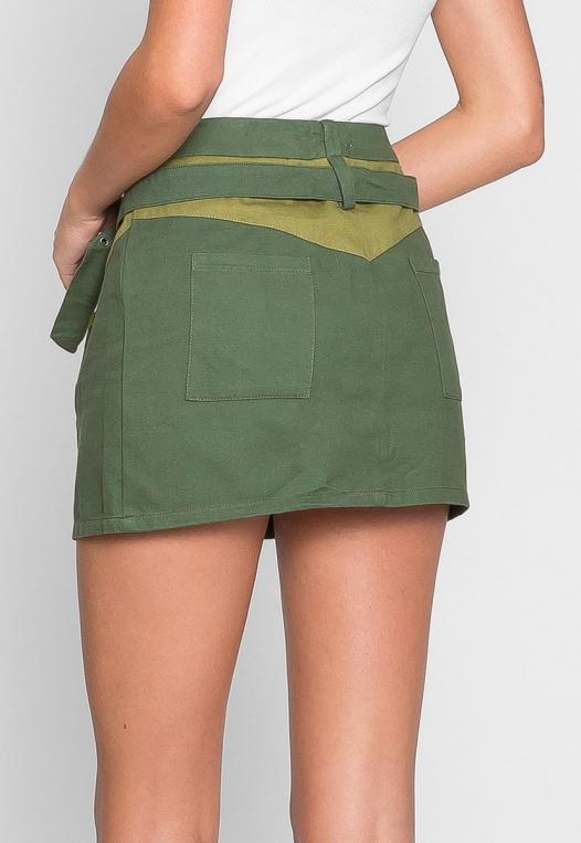 Colorblock Twill Mini Skirt alternate img #3