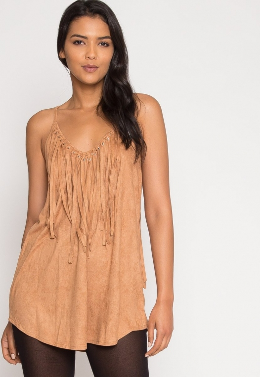 Symphony Faux Suede Dress in Taupe alternate img #5