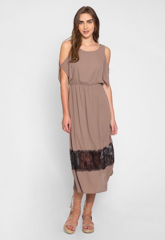 Pathway Cold Shoulder Maxi Dress in Mocha alternate img #3