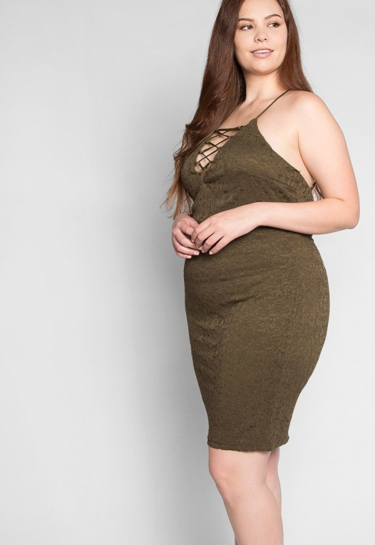 Plus Size Be The One Bodycon Dress in Olive alternate img #5