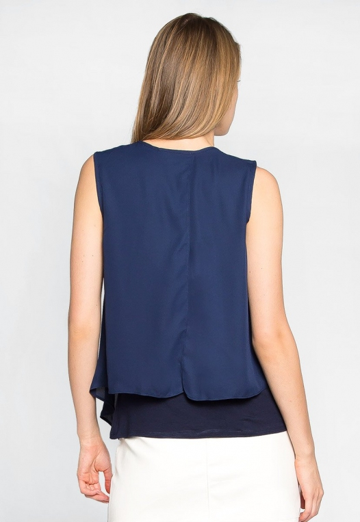 Stay True Layered Loose Fit Blouse in Navy alternate img #2