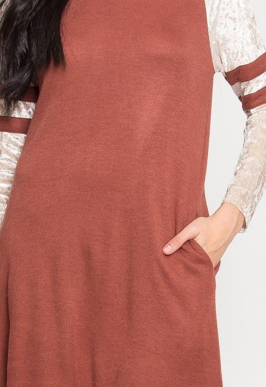 Catcher Varsity Velvet Dress in Wine alternate img #6