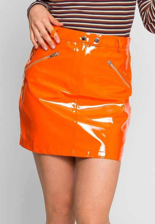 Leroy Neon Mini Skirt in Orange alternate img #2