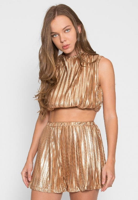 Gold Touch Crop Top Skirt Set alternate img #3