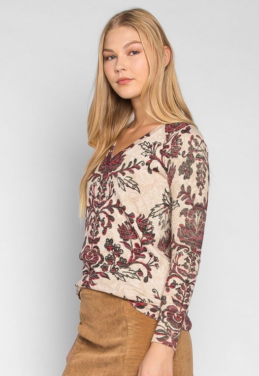 Promises Ornamental Print V Neck Fitted Cardigan alternate img #3