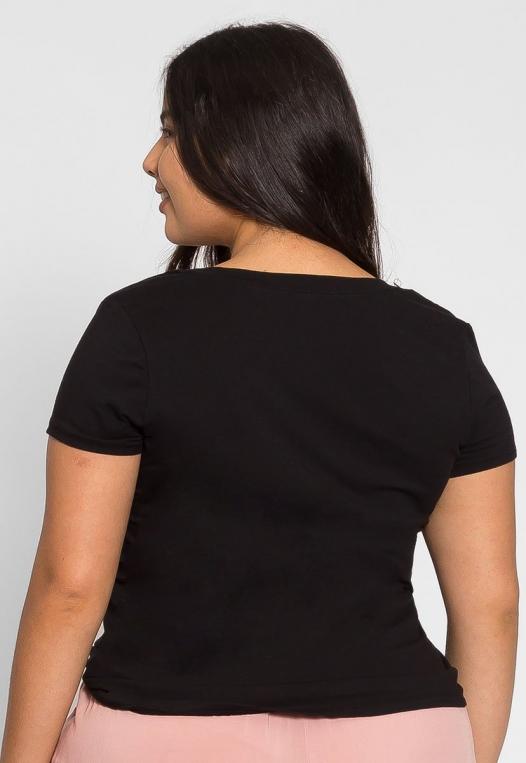 Plus Size The Basics V-Neck Tee in Black alternate img #2