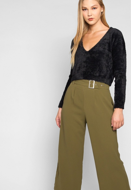 Barcelona Crop Wide Leg Belted Pants in Olive Green alternate img #5