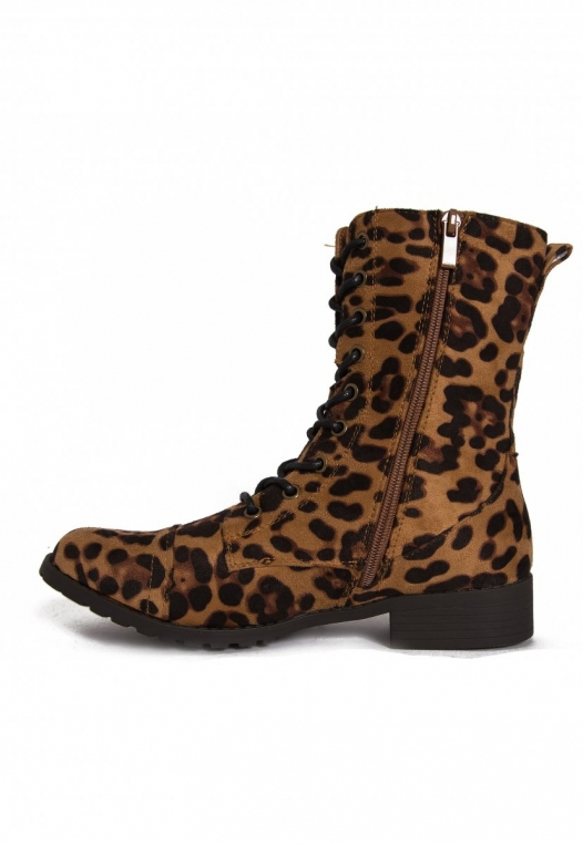 Hold Up Leopard Combat Boots alternate img #2