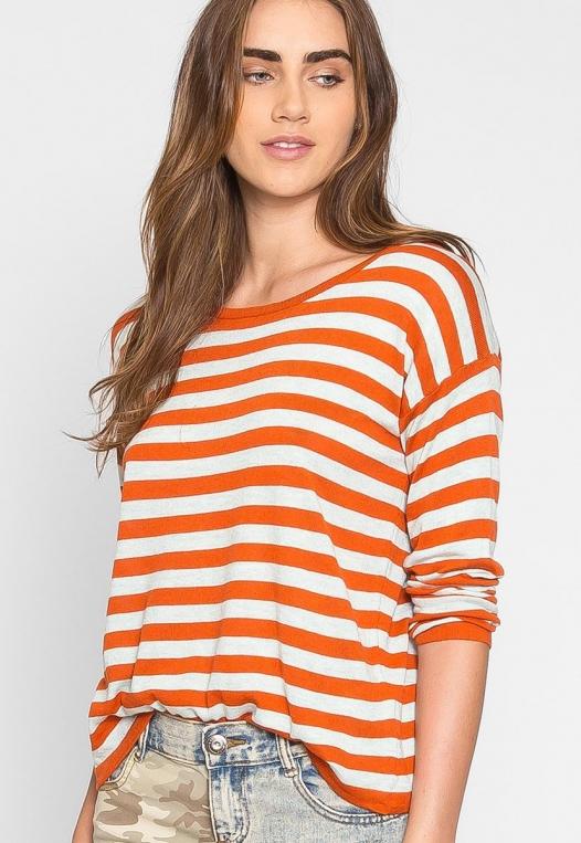 Grand Prize Stripe Sweater Top in Orange alternate img #5