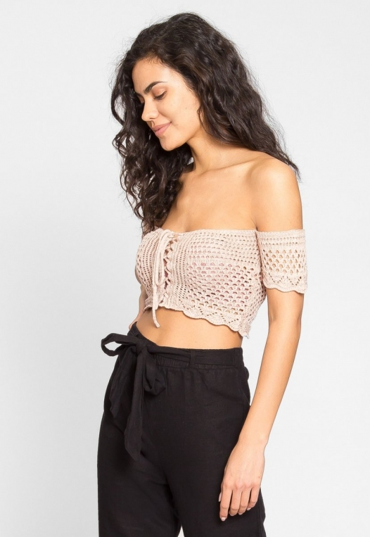 Puerto Crochet Off Shoulder Crop Top in Blush alternate img #5