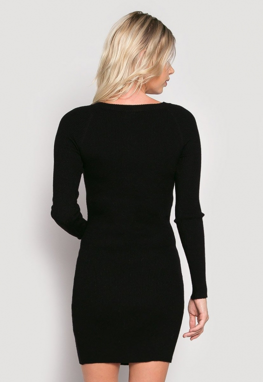 Risky Girl Ribbed Knit Dress in Black alternate img #3