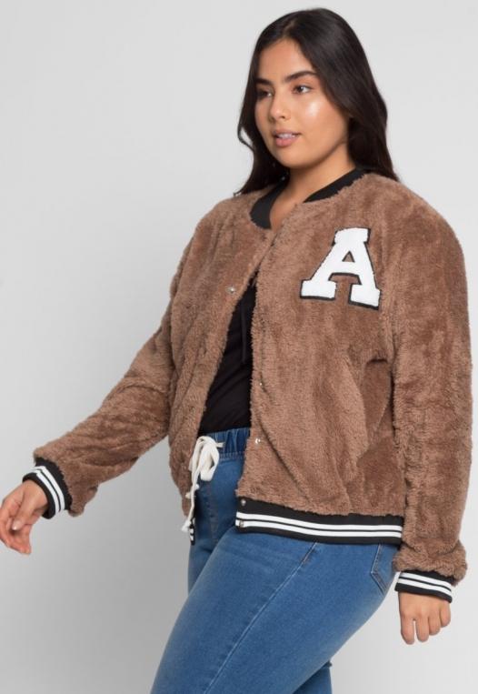 Plus Size Letterman Teddy Varsity Jacket in Brown alternate img #1