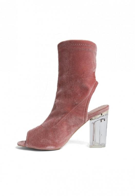 Leandra Velvet Cut Out Sock Heels in Blush alternate img #2