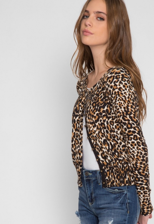 Wild Side Cardigan in Brown Leopard alternate img #5