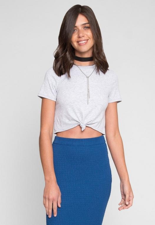 Shapeshifter Tie Twist Crop T-Shirt in Gray alternate img #1