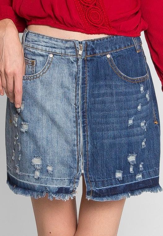 Whip It Distressed Denim Skirt alternate img #3