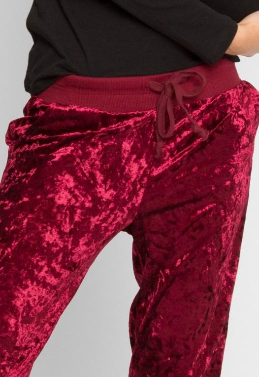 Chill Crushed Velvet Joggers in Red alternate img #6